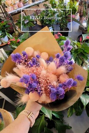 Petite Purple Dried Posy